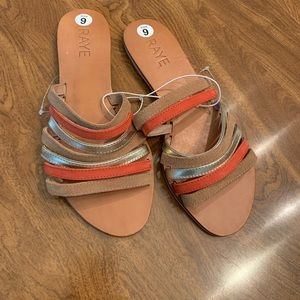 Raye X Revolve Coral Gold Leather Strappy Sandals